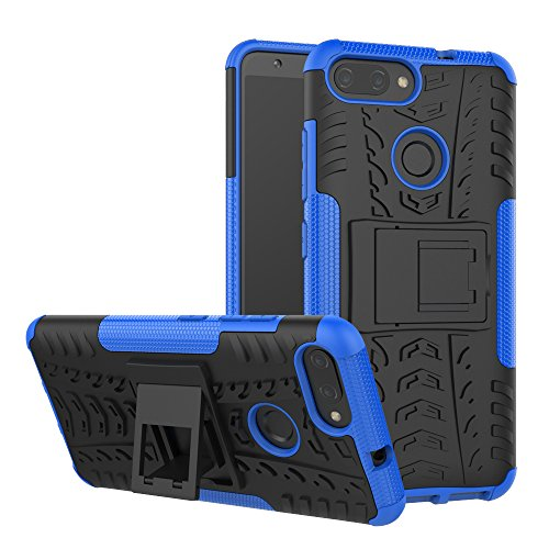 Asus ZenFone Max Plus ZB570TL Case, Linkertech [Shockproof] Tough Rugged Dual Layer Protector Hybrid Case Cover with Kickstand for Asus ZenFone Max Plus (M1) 5.7 (Blue)