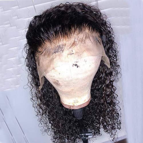 13x6 Curly Lace Front Wigs Human Hair With Baby Hair For Black Women Deep Part Brazilian Remy Hair Wigs Bleached Knots Prep Plucked (14inch)