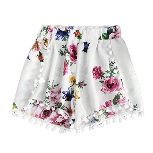 - Pom Pom Shorts, Women Girl Hot Pants Lace Tassel Mid Waist Elastic Beach Shorts Pants (S, White)