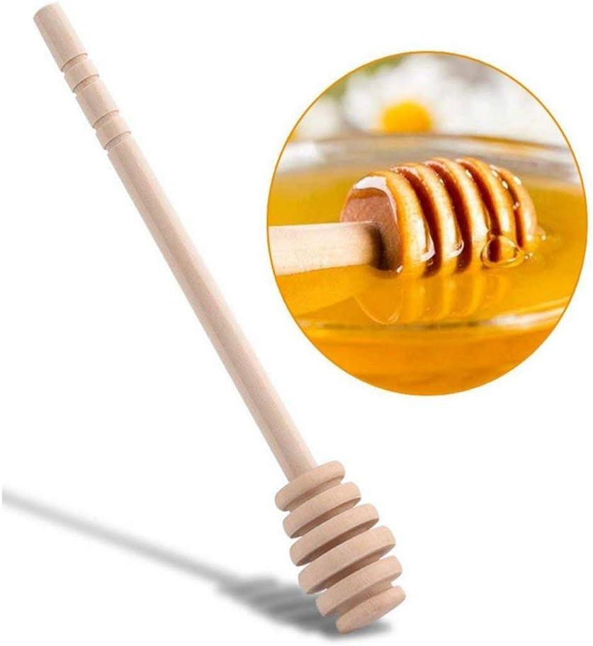 LANGING Set von 8 Mini Honig Dipper Holzst/äbchen f/ür Gl/äser Topf Spender Drizzle Honig