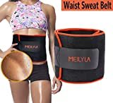 Med Rehabs Waist Sweat Belt - Stomach Fat Burner Belly Slimming, Adjustable Neoprene Workout Exercise Waist Trimmer Trainer Wrap Waistline Shaper for Women/Men (Orange, L)