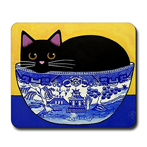 CafePress - Black CAT in Blue Willow Bowl Mousepad - Non-slip Rubber Mousepad, Gaming Mouse Pad