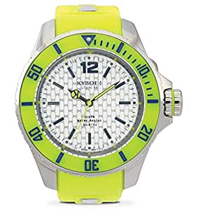 Kyboe Stainless Steel Flou Series Unisex Silver Dial Silicon Rubber Watch-FS-001, Neon Yellow