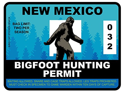 Bigfoot Hunting Permit - NEW MEXICO (Bumper Sticker)
