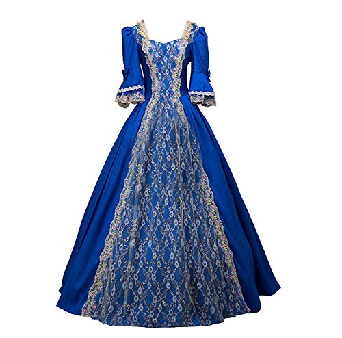 ROLECOS Womens Royal Retro Medieval Renaissance Dresses Lady Satin Masquerade Dress Blue XL -