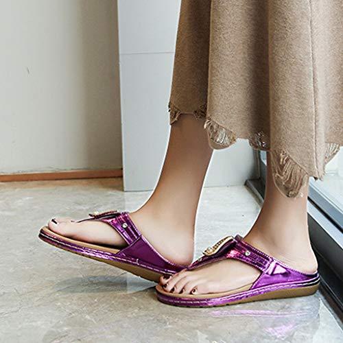 Sandali Donna Viola Nero Oro Moda Blu Scarpe Casual Sunnywill Di Viola Arrotondata Spiaggia Punta Ciabatte Pantofole Strass Con Argento Da Liscio qaw4qXE