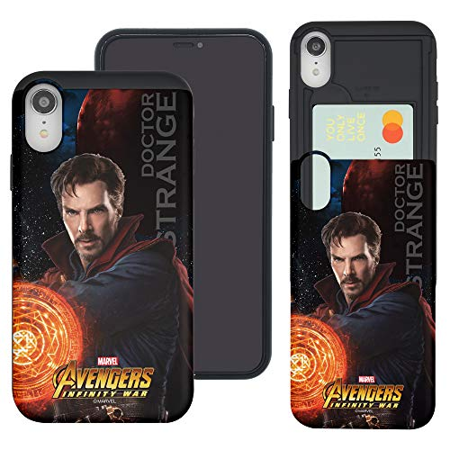 iPhone XR Case Marvel Avengers Slim Slider Cover : Card Dual Layer Holder Bumper for [ iPhone XR ] Case - Infinity War Doctor Strange