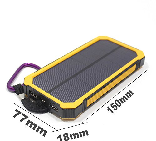 Yellow 50,000 mAh Waterproof Portable Power Bank Solar Charger Dual USB Battery