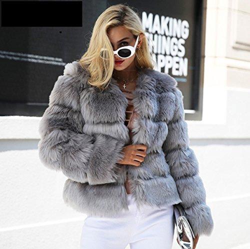 Blouson Mode Fourrure Fausse Courte Vintage Gris Femmes 42 Veste Femme Fourrure qRO16nw