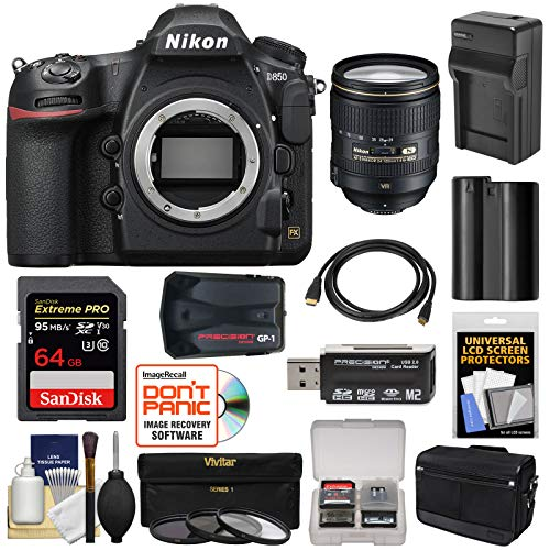 Nikon D850 Wi-Fi 4K Digital SLR Camera Body with 24-120mm f/4 VR Lens + 64GB Card + Battery & Charger + Case + GPS + 3 Filters Kit ()