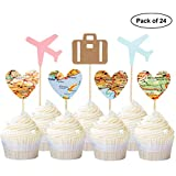 24PCS Heart Map Luggage Airplane Cupcake Toppers Plane for Travel Theme Party Cake Decor Pink and Blue