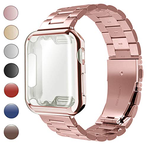 - Lilycase Stainless Steel Magnetic Mesh Sport Wristband with Screen Protector All-Around Protective Cover Case - Replacement for Apple Watch Series 4 3 2 1 38mm 42mm 40mm 44mm (A-Rose Gold, 40mm)