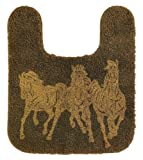 HiEnd Accents 3 Horses Western Contour Rug, Chocolate