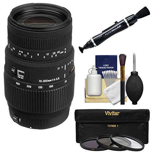 Sigma 70-300mm f/4.0-5.6 DG Motorized Macro Zoom Lens (for Nikon Cameras) with Filters + Cleaning Kit (Sigma 70 300mm F 4 5-6 Nikon)
