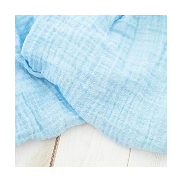 Blue Muslin Baby Swaddle Blanket – 100% Organic Cotton Perfect for Swaddling and Nursering – Breathable Soft Cover and Wrap and Crib Muslin Blanket – Receiving for Kids – Newborn Boy Girl (Light Blue)