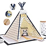 Children's Teepee Tent Kids Tepee Play House with Window & Floor Mat, Indoor/Outdoor Use Cotton Canvas