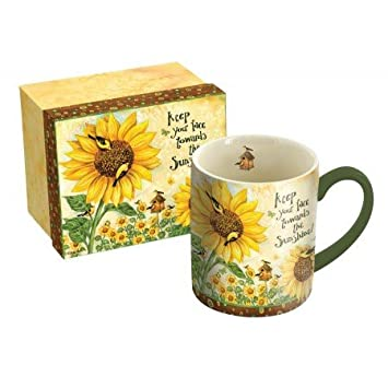 LANG 14 oz. Ceramic Coffee Mug Sunflowers Art by Debi Hron  - Goldfinch, Birdhouse