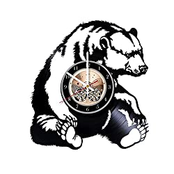 Grizzly Bear HANDMADE Vinyl Record Wall Clock - Get unique living room wall decor - Gift ideas for adults and youth Wild Animals Unique Modern Art