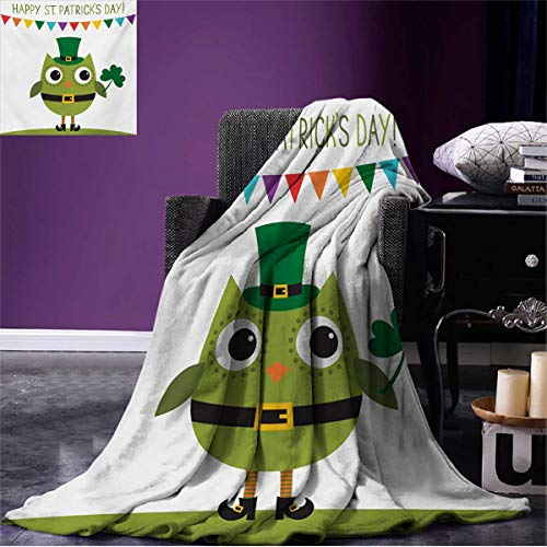 Anniutwo St. Patricks Day Couch Blanket Owl with Leprechaun Costume Greeting Design for Party Shamrock Pattern Custom Multicolor W60 x L50 inch -