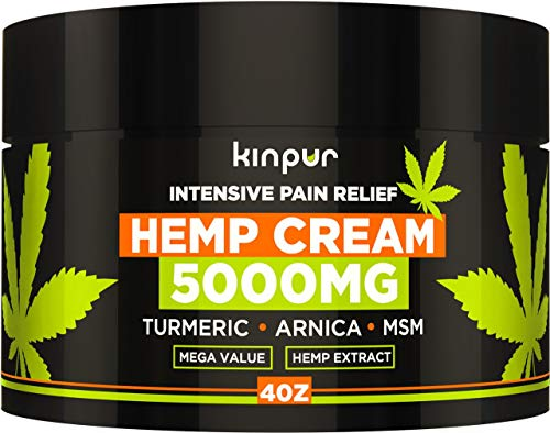 Hemp Cream for Pain Relief and Inflammation - 5000 Mg - Made in USA - Recover Arthritis, Muscle Strain, Stiff Joints, Achy Hands, Knees, and Fingers - with MSM - EMU Oil - Arnica - Turmeric - 4 oz (Best Ointment For Muscle Strain)