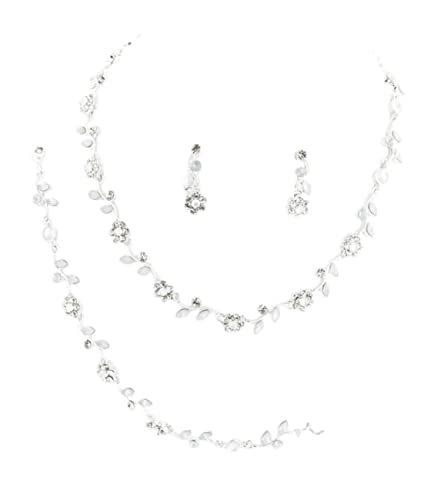 Best Seller Wedding Bridal Jewellery Set Necklace Bracelet Earrings Crystal Flowers Leaves Milky and Crystal Clear Vd0jNo