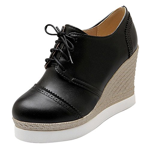 Corte COOLCEPT Moda Zapatos Mujer Negro Cordones 4xw1vqwz