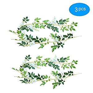 YPY 6.6ft Artificial Flower Ivy Silk Wisteria Flower Vine Green Leaf Hanging Vine Garland for Wedding Party Home Garden Ceremony Wedding Arch Floral Decor (White, 3) 52
