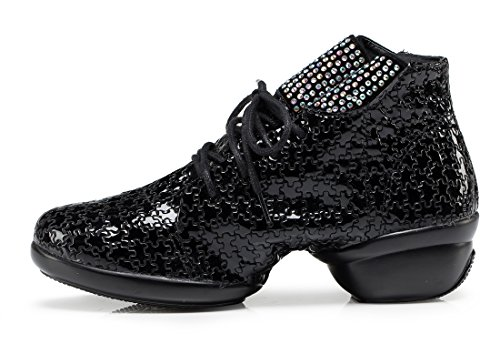 Rhinestone Women's Stylish Dancing Moderm Lace Toe Latin Leather TDA up Shoes Square Ballroom Black Round fqUd5fw0