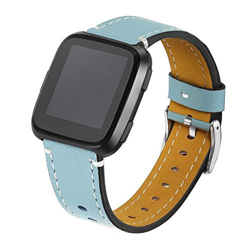 bayite Bands Compatible Fitbit Versa, Classic Genuine Leather Wristband Fitness Strap for Versa, Large Blue
