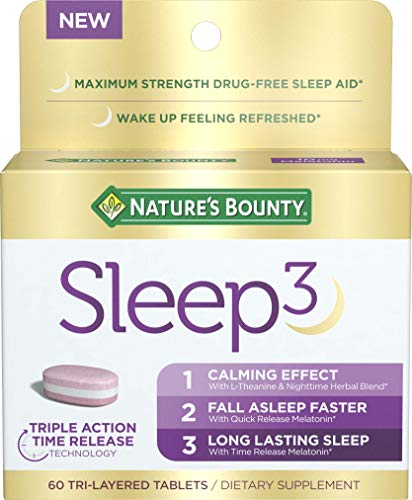 Nature's Bounty Sleep3 Tri-Layer Melatonin, with L-Theanine & Nighttime Herbal Blend, for Long Lasting Sleep for Occasional Sleeplessness* with Time Release 10mg of Melatonin, 60Count