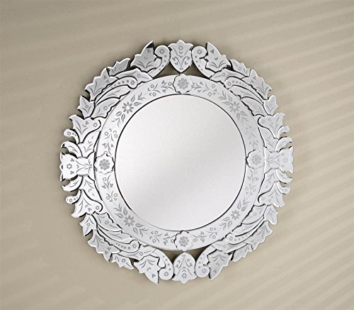 Afina Venetian Round Wall Mirror in Cut & Etched Glass Mirror Frame ()