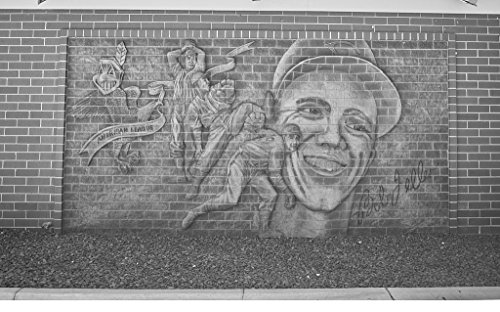 - 24 x 36 B&W Giclee Print Elaborate Brick Mural in Van Meter, Iowa, Celebrating The Career Cleveland Indians' Hall Fame Baseball Pitcher Bob Feller at The Former Feller Museum, 2016 Highsmith 18a