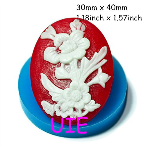125LBC Flower Cameo Flexible Silicone Push Mold 40mm Fondant Cake Decorating Tools Silicone Soap Mold Polymer Clay Molds