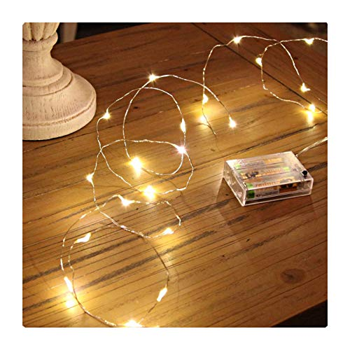 GardenDecor Led String Lights 100 Leds Decorative Fairy Battery Powered String Lights, Copper Wire light for Bedroom,Wedding(33ft/10m Warm White) (Lights Bendable)