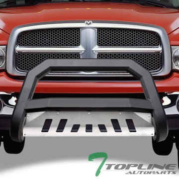 Topline Autopart Matte Black AVT Style Bull Bar Brush Push Front Bumper Grill Grille Guard With Aluminum Skid Plate For 02-05 Dodge Ram 1500 ; 06-09 1500 Mega (Extended Crew) Cab ; 03-09 2500/3500