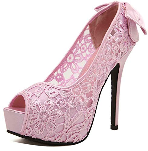 Easemax Women's Sweet Bows Lace Platform Peep Toe High Stiletto Heel Slip on Pumps Shoes Pink 8.5 M US (Sexy Pink Lace Stiletto Heel)