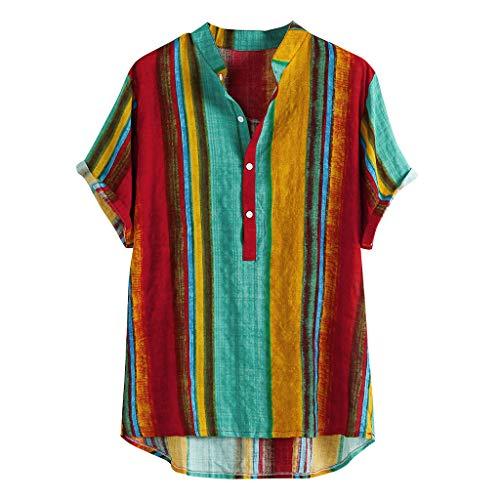 haoricu Men's Summer V Neck Shirts Casual Short Sleeves Color Block Stripes Print Button Up Loose Shirts Blouse (Green, XXXL)