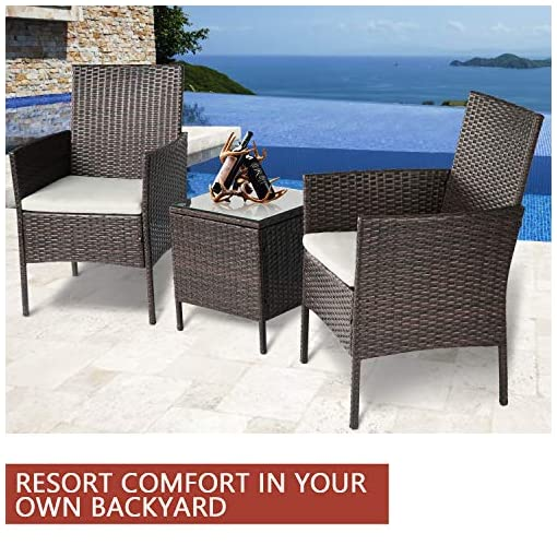 Garden and Outdoor SUNCROWN Outdoor 3-Piece Patio Bistro Set Brown Wicker Chairs with Glass Top Table All-Weather Wicker Furniture with…
