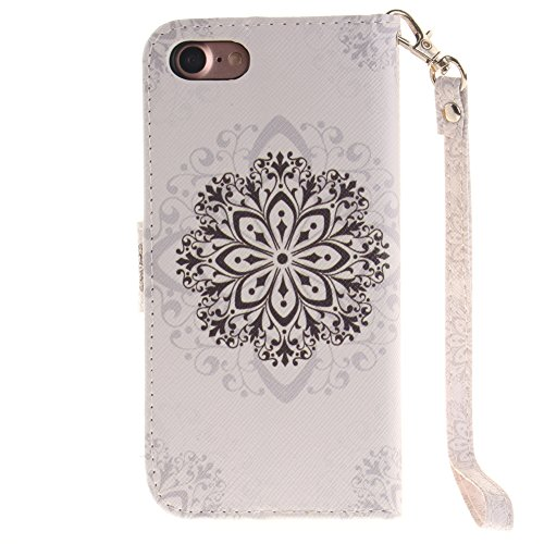 iPhone 7 Case, DRUnKQUEEn Wallet Purse Type Leather Credit Cards Case with Cellphone Holder Flip Cover for Apple iPhone7 - Hand Strap Included