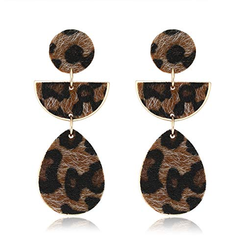 Urwomin Leopard Earring Animal Print Leather Fur Drop Dangle Earring Geometric Metal Teardrop Statement Earring (Brown)