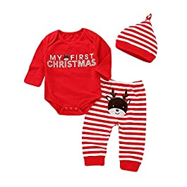 Afocuz Christmas Costumes Elk Long Sleeve Outfits Set Newborn Baby Boys Girls Clothes My First Christmas
