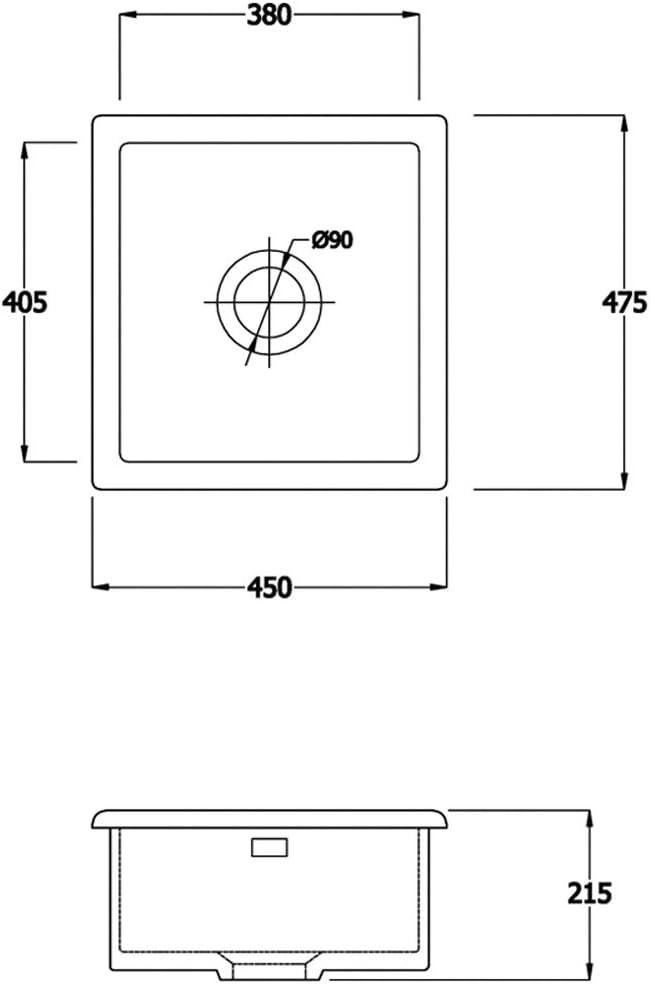 Astini Hampton 100 1.0 Bowl White Ceramic Undermount Kitchen Sink /& Gold Waste