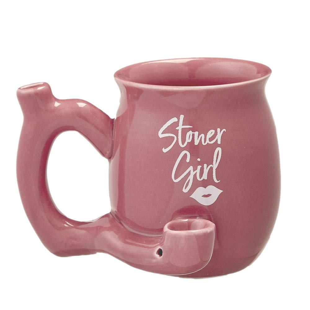 Roast And Toast Stoner Girl Mug With White Imprint 11 Ounces Blue
