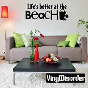 Life's better at the beach Summer Holiday Vinyl Wall Decal Mural Quotes Words HD123