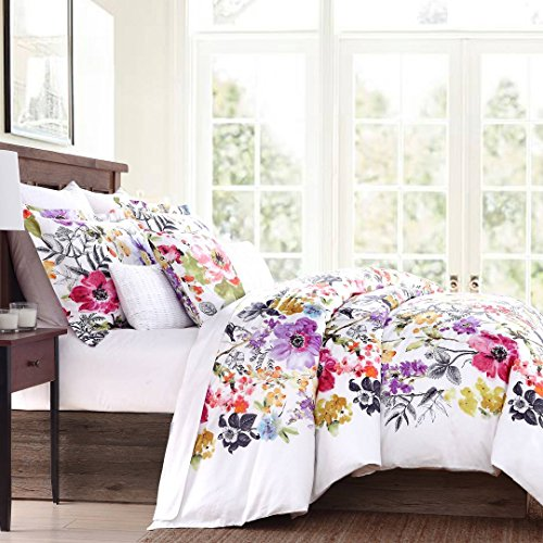 (Tahari Home Vintage Botanical Wild Flower Print Duvet Quilt Cover by Envogue, Cotton Sateen Bedding Set Colorful Floral Watercolor Branches Drawing of Summer Blossoms Full Queen)
