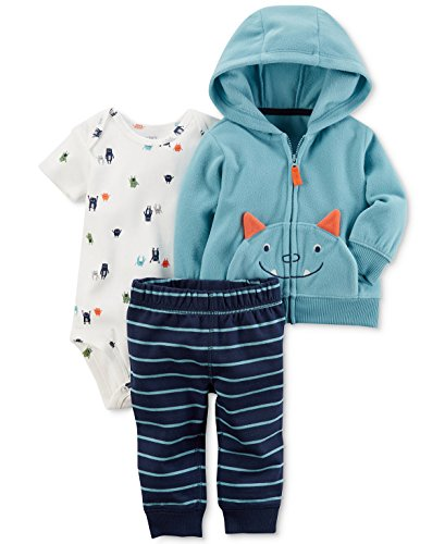 Carter's Baby Boys' 3 Piece Monster Print Cardigan Little Jacket Set 24 (Kids Monster Outfit)