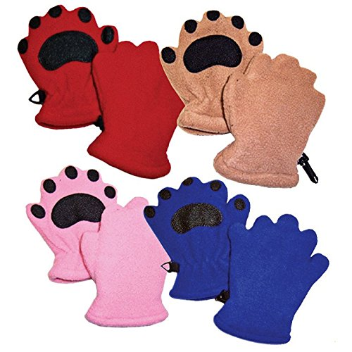 Bear Hands Mittens - Bear Hands Youth Fleece Mittens- Red/ Youth Small