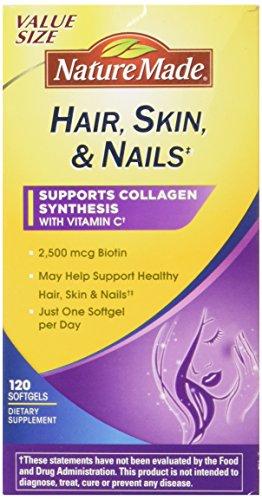 Nature Made Biotin (Nature Made Hair, Skin & Nails w. 2500 mcg of Biotin Softgels Value Size 120 Ct)