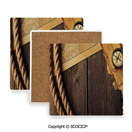 - Ceramic Coasters with Cork Base, Prevent Furniture from Dirty and Scratched, Suitable for Kinds of Mugs and Cups,Compass Decor,Antique Brass Compass and Rope Over Old Map,3.9