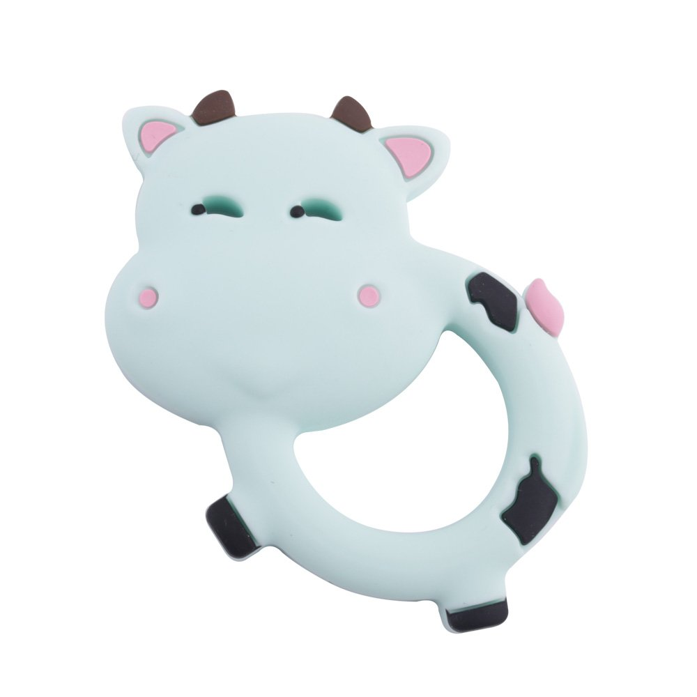 Baby Silicone Teether Infant Teething Toys Pendant BPA Free Can Chew Cow Textures Sensory Point Teething Accessories -Mint